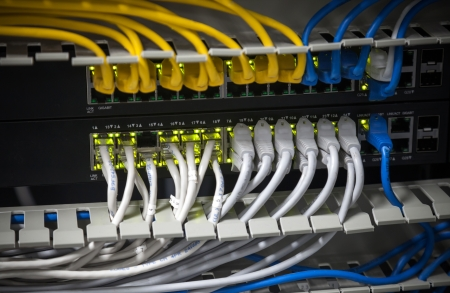 utp: Large network hub and connected cables