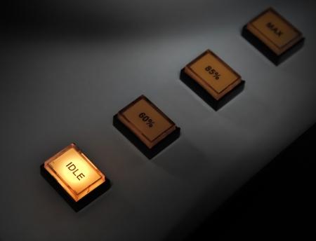holgaz�n: Bot�n iluminado inactivo en el foco del panel de control de potencia industrial selectiva