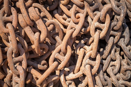 Bundle of rusty ship chain  Background texture photo