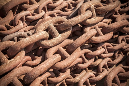 Bundle of rusty naval chain  Background texture photo