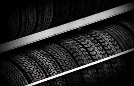 Row of car tires on the counter Stock Photo - 16004143