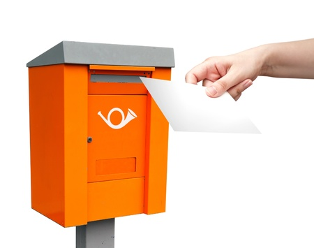metal post: Orange metal post box and female hand with white letter