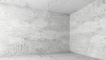 Abstract white interior of empty room with concrete walls without finishing photo