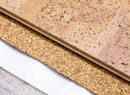 Laying technology of cork floor on concrete  base with layers of thermal insulation and soundproofing