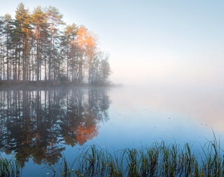 Still lake landscape with fog in cold autumn morning photo