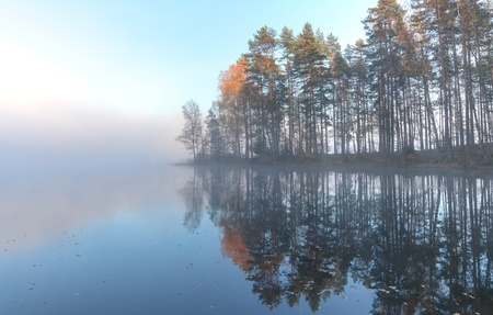 Still lake autumn landscape in cold foggy morning photo