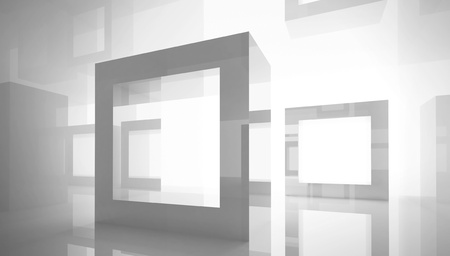 Abstract architecture background with square frames in white studio interior photo