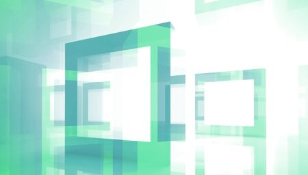 Abstract technology background with green square frames photo