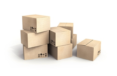 fast delivery: Pile of new cardboard boxes isolated on white with soft shadow