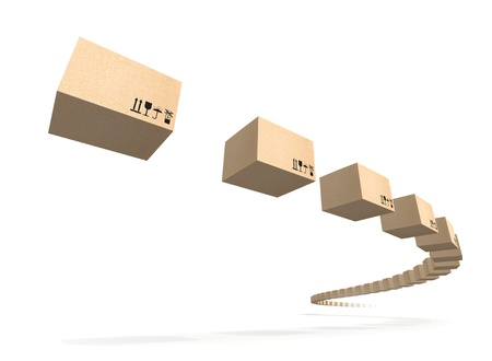 Stream of flying cardboard boxes isolated on white  Fast accuracy delivery metaphor Stock Photo - 16564932