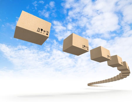Stream of flying cardboard boxes above blue sky  Fast accuracy delivery metaphor