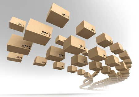 send parcel: Stream of flying cardboard boxes  Fast accuracy delivery metaphor Stock Photo