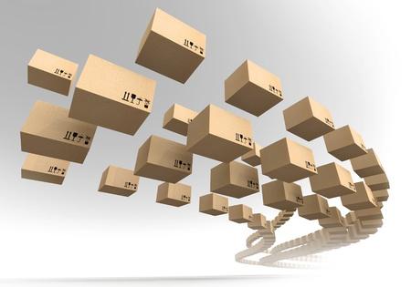 Stream of vliegende kartonnen dozen Snel nauwkeurigheid levering metafoor