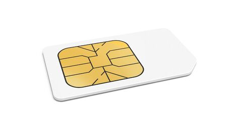 White Sim card isolated on white background with soft shadow  3d render illustration  illustration