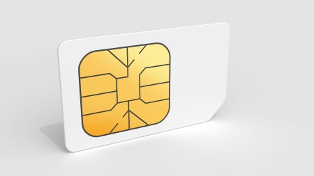 sim: White Sim card on light gray background with soft shadow  3d render illustration  Stock Photo