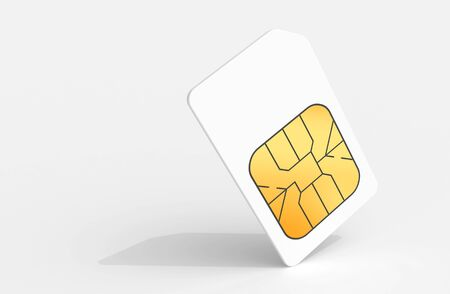 simcard: White Sim card above light gray background with soft shadow  3d render illustration