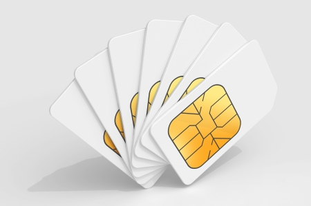 telecom: White phone SIM cards in a deck above light gray background  3d render illustration