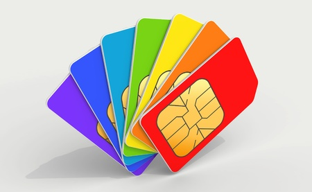 sim: Colorful phone SIM cards in a deck above light gray background  3d render illustration