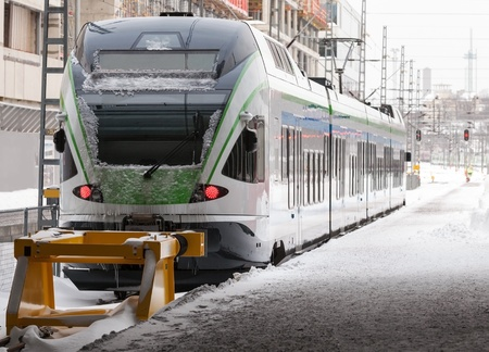 Perspective view of the modern electric express train on a platform Stock Photo - 16851547