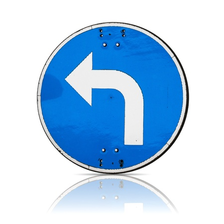 swerve: Left turn, real detailed road sign isolated on white