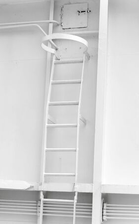 backstairs: White metal naval ladder closeup detailed photo Stock Photo