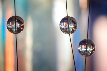 Abstract background with glass spherical design elements of modern chandelier photo