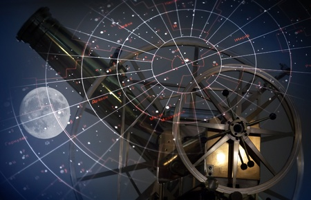 observatory: Astronomical abstract background with star map, old telescope and moon Stock Photo