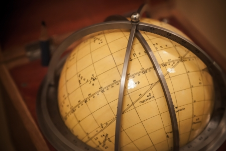 Ancient travel star sky globe in wooden box photo