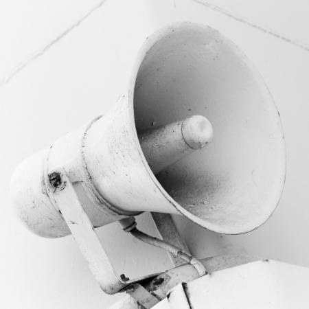 An old loudspeaker on the naval wall Stock Photo - 17014575