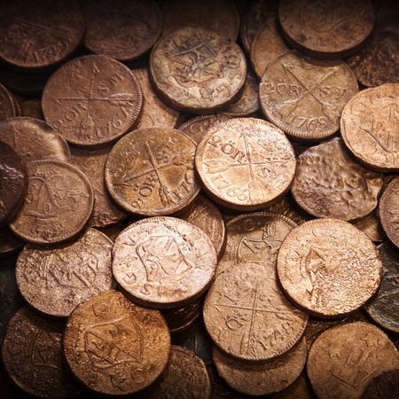 golden: Old coins background texture Stock Photo