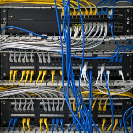 hubs: Large network hubs with connected cables