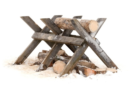 Rural object above white background, sawing log on wooden stand on white background Stock Photo - 17117886