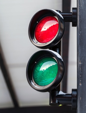 Red and green small round traffic light photo