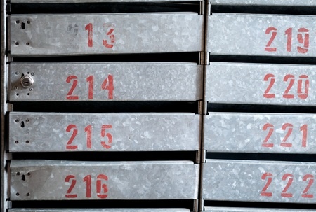 Texture of locked old iron postboxes red apartment numbers Stock Photo - 17154763
