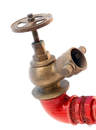 Fire hydrant on red tube with classical valve isolated on white background Stock Photo - 17230415