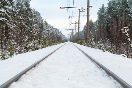 Empty railroad in winter forest perspective background Stock Photo - 17587180