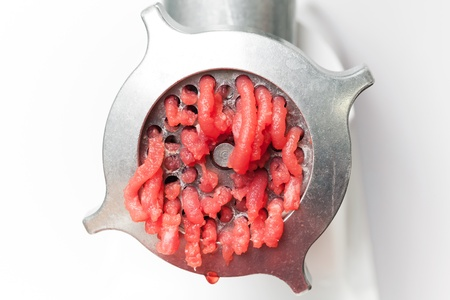 Closeup photo of mincer machine with fresh chopped meat Stock Photo - 17587206
