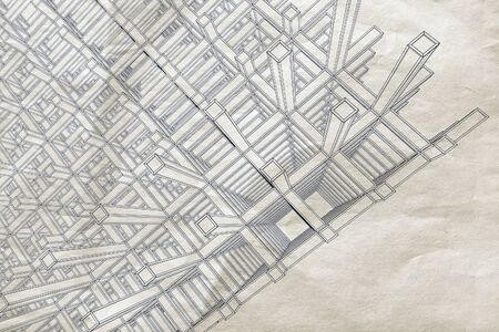engeneering: Blueprint with perspective view of an abstract 3d braced construction on old paper