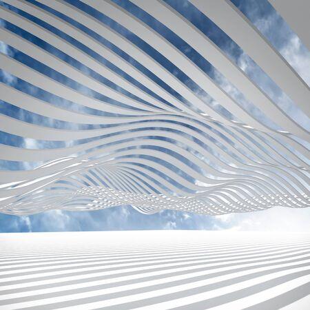 흰색 추상 아키텍처 3D 배경은 흐린 하늘 줄무늬를 흔들었다 스톡 콘텐츠