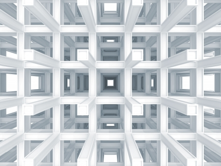 3d abstract architecture background  Modern white braced construction perspective Stock Photo