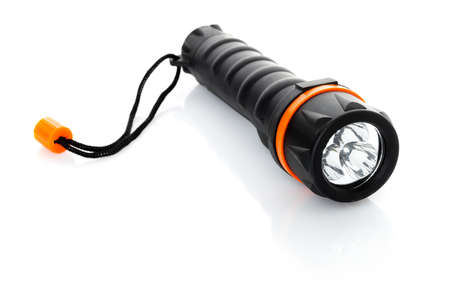 Portable waterproof flashlight isolated on white Stock Photo - 17694080