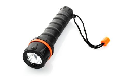 small lamp: Portable waterproof flashlight isolated on white background Stock Photo