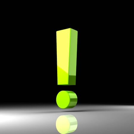 Green exclamation mark     over black background  3d render illustration