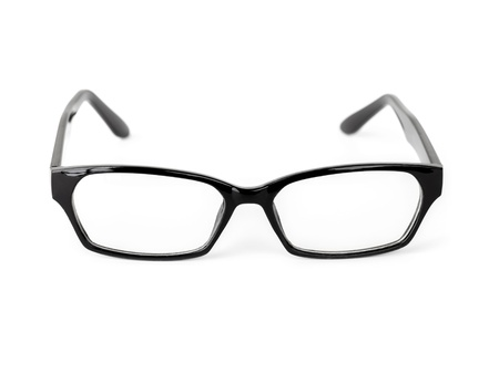 protecting spectacles: Classical black plastic glasses isolated on white background