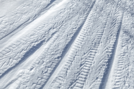 Background texture of  tire tracks on road covered with snow