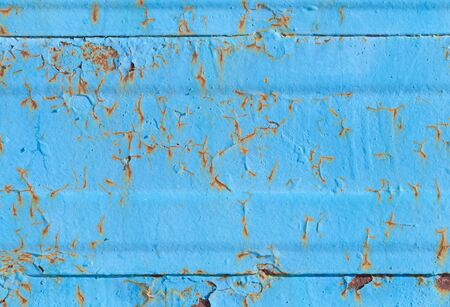 Blue metal wall with rust  Background texture photo