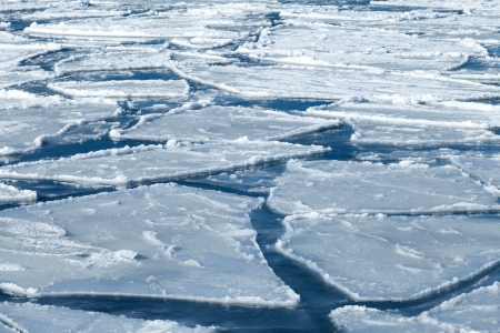 drifting ice: Winter nature background with blocks of ice on frozen blue Sea