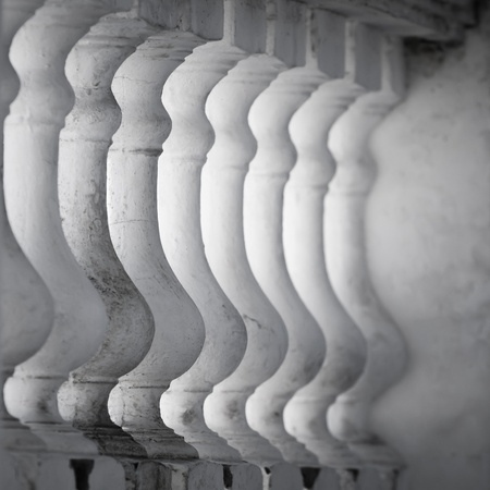 Row of white balusters  Abstract classical architecture fragment photo