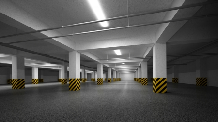 Empty dark underground parking abstract interior photo
