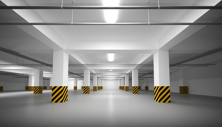 지하에: 추상 빈 흰색 지하 주차장 내부